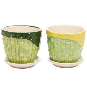 MyGift-Bamboo-Garden-Series-Ceramic-Flower-Pot-Planter-w-Attached-Saucer-Set-of-2-Green-Yellow-0